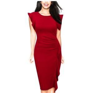 Muisol Ruffle Slim Business Office Dress